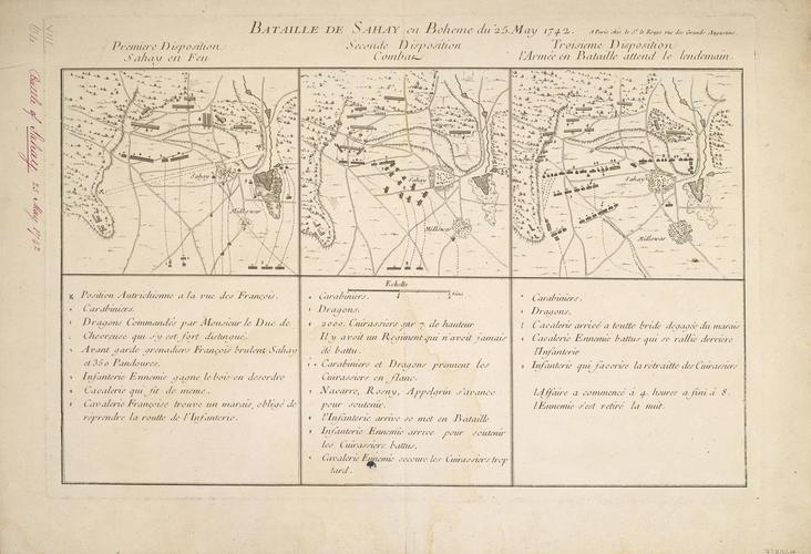 Map of the Battle of Sahay, 1742 (near Budweis, Jihocesky Kraj, Czech Republic) 48?58'28