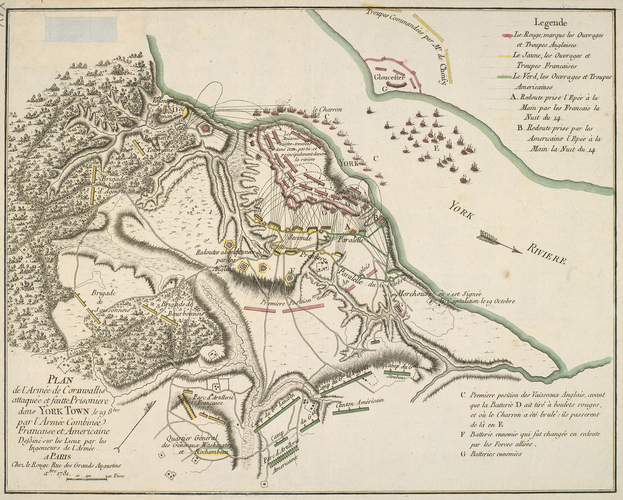 Item: Map of the siege of Yorktown, 1781 (Yorktown, Virginia, USA) 37?14'19