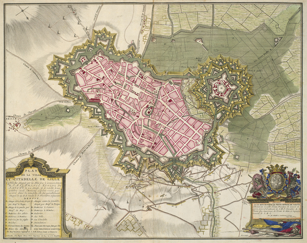Map of the siege of Lille, 1708 (Lille, Nord-Pas-de-Calais, France) 50?37'58