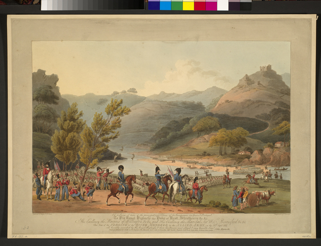 Master: Spain Twelve Views of the principal occurences of the Campaigns of 1810 and 1811 in Spain and Portugal: by Major T. S. t Clair, engraved by C. Turner, 1812-15. Item: Mondego river, 1811 (Mond