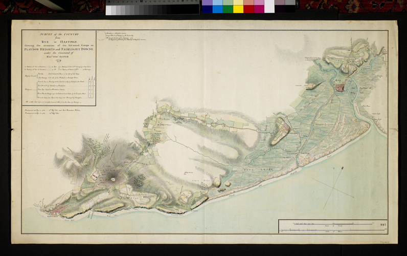 Map of Hastings and Rye, 1779-81 (Hastings, East Sussex, UK) 50?51'18