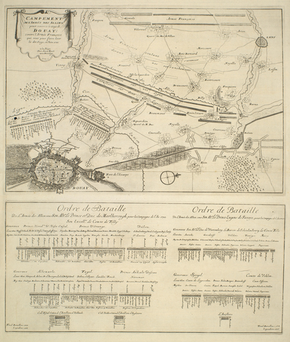 Map of encampment and order of battle of allied armies at Douai, 1710 (Douai, Nord-Pas-de-Calais, France) 50?22'00