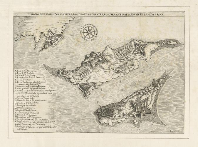 View of Sainte-Marguerite and Saint-Honorat, 1635 (Ile Sainte-Marguerite, Provence-Alpes-Cote d?Azure, France) 43?31?08?N 07?03?04?E; (Ile Saint-Honorat, Provence-Alpes-Cote d?Azure, France) 43?30?27?