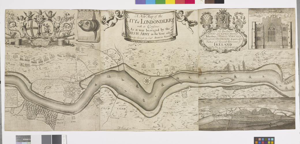Item: Map of the siege of Londonderry, 1689 (Londonderry, Northern Ireland, UK) 54?59?53?N 07?18?33?W