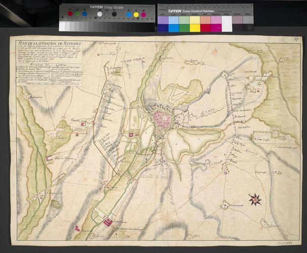 Map of the siege of Bethune, 1710 (Bethune, Nord-Pas-de-Calais, France) 50?32'00