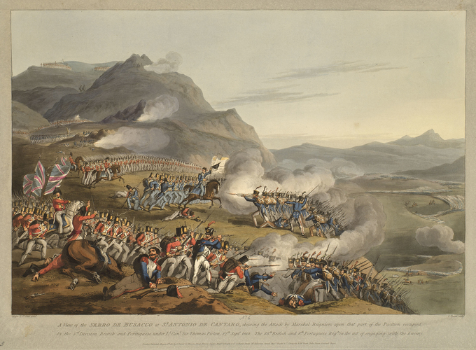 Master: Spain Twelve Views of the principal occurences of the Campaigns of 1810 and 1811 in Spain and Portugal: by Major T. S. t Clair, engraved by C. Turner, 1812-15. Item: Serra do Busacco, 1810 (S