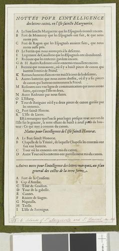 Sainte-Marguerite and Saint-Honorat, 1637 (Ile Sainte-Marguerite, Provence-Alpes-Cote d?Azure, France) 43?31?08?N 07?03?04?E; (Ile Saint-Honorat, Provence-Alpes-Cote d?Azure, France) 43?30?27?N 07?02?