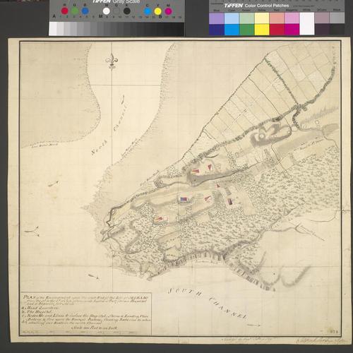 Map of encampment at Ile d'Orleans, 1759 (Ile d'Orleans, Quebec, Canada) 46?55'04