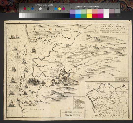 Map of the naval battle at Vigo, 1702 (Vigo, Galicia, Spain) 42?13'58