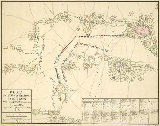 Map of St Tron, 1703 (Sint-Truiden, Flanders, Belgium) 50?49'00