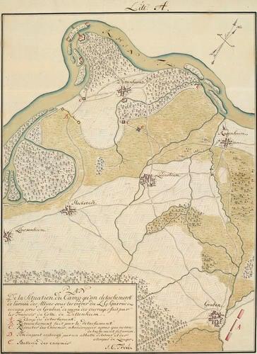 Map of encampment at Graben and Dettenheim, 1745 (Graben, Baden-Wurttemberg, Germany) 49?09'21