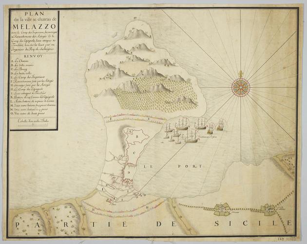 Map of Milazzo, 1718 (Milazzo, Sicily, Italy) 38?13?16?N 15?14?18?E