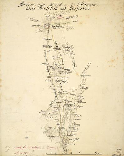 Map of Bielefeld and Herford, 1757 (Bielefeld, North Rhine-Westphalia, Germany) 52?02'00
