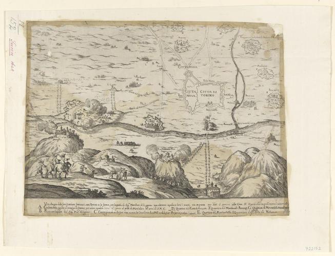 Map of Turin, 1640 (Turin, Piedmont, Italy) 45?04'13