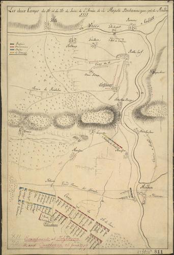 Map of encampment at Minden, Dankersen and Holzhausen, 1757 (Minden, North Rhine-Westphalia, Germany) 52?17'00