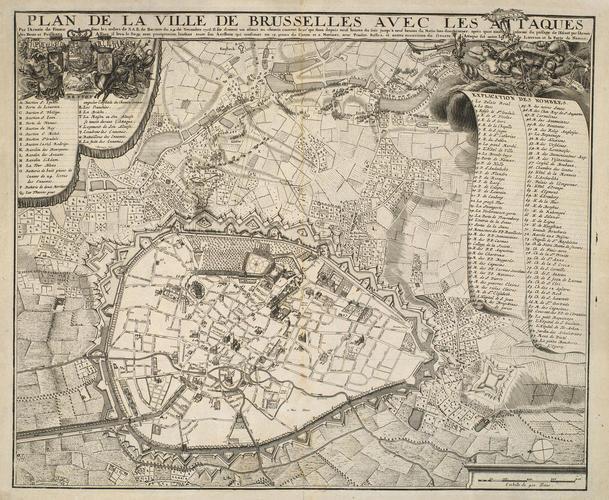 Map of Brussels, 1708 (Brussels, Brussels Capital Region, Belgium) 50?51'01