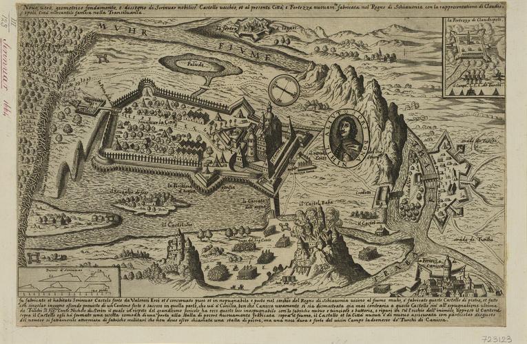 A view of Cluj-Napoca and Novi Zrin, 1664 (Cluj-Napoca [Claudiopolis], Cluj, Romania) 46?46?00?N 23?36?00?E; (Novi Zrin [Uj-Zrinyvar; Novo Serinvar], Somogy megye, Hungary) 46?19?25?N 16?52?42?E
