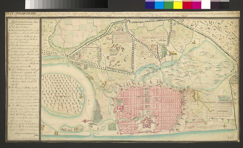 Map of Pondicherry, 1760-61 (Puducherry, Tamil N?du, India) 11?55'48