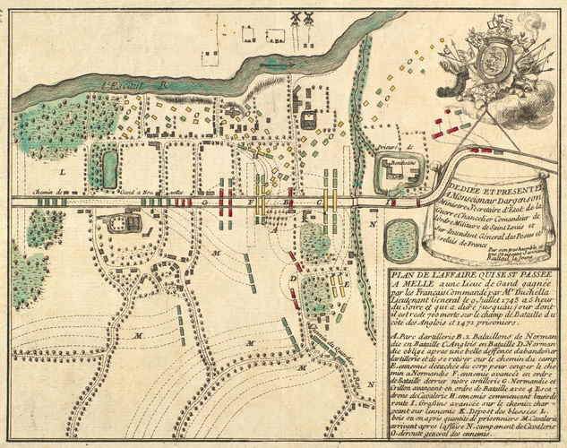 Map of engagement at Melle, 1745 (Melle, Flanders, Belgium) 51?00'08