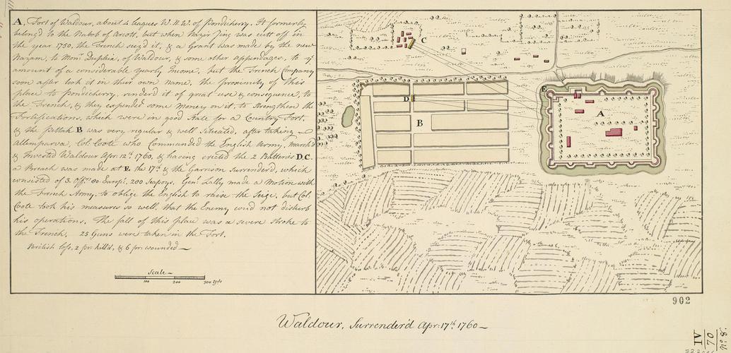Plan of Waldour, 1760 (Valud?v?r, Pondicherry, India) 11?58'00