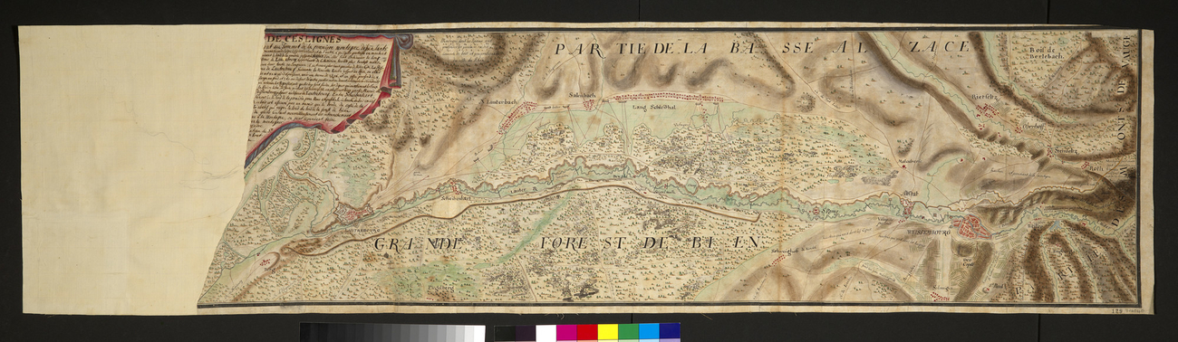Map of Lauterbourg, Wissembourg and the Rhine, 1710 (Lauterbourg, Alsace, France) 48?58'30