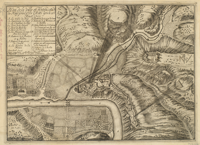 Map of the siege of Huy, 1703 (Huy, Walloon Region, Belgium) 50?31'08