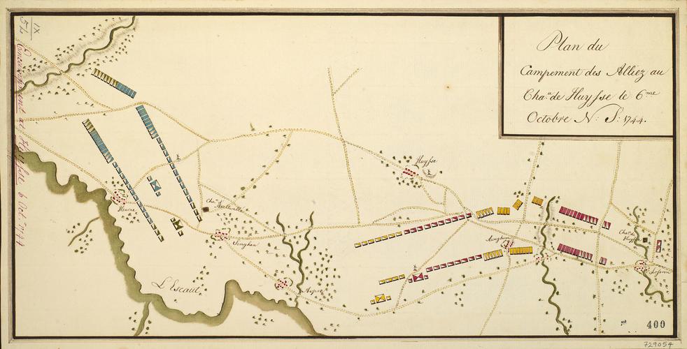 Map of encampment at Huise, 1744 (Huise, Flanders, Belgium) 50?54'02