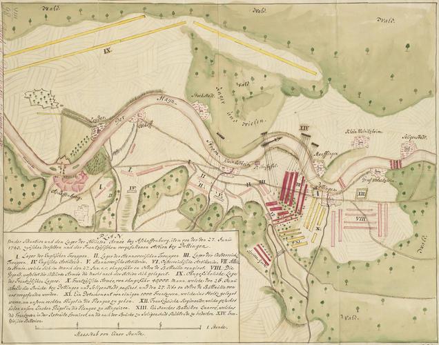 Map of the Battle of Dettingen, 1743 (Dettingen am Main, Bavaria, Germany) 50?02'29