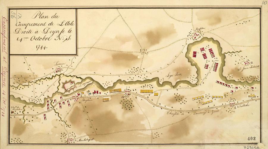 Map of encampment at Deinze, 1744 (Deinze, Flanders, Belgium) 50?58'54