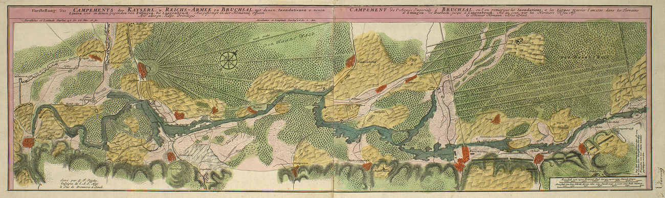 Item: Map of Bruchsal, Durlach, and Langenbrucken, 1735 (Bruchsal, Baden-Wurttemberg, Germany) 49?07?27?N 08?35?52?E; (Durlach, Baden-Wurttemberg, Germany) 48?59?59?N 08?28?28?E; (Bad Langenbrucken, B
