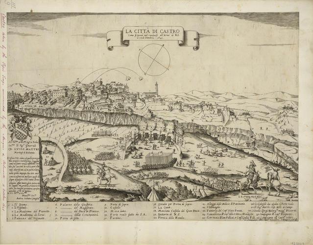 View of the siege of Castro, 1641 (Castro, Lazio, Italy) 42?31?58?N 11?38?55?E