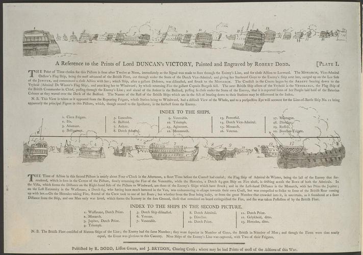 Master: Two views of British Fleet on 11 October 1797, attacking the Dutch Fleet. Item: Battle of Camperdown, 1797 (Camperduin, North Holland, Netherlands) 52?43'11