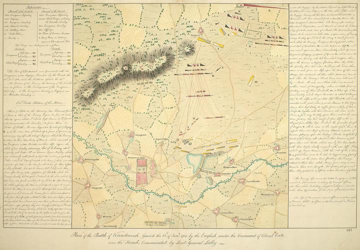 Map of the Battle of Wandiwash, 1760 (Vandav?si, Tamil N?du, India) 12?30'15