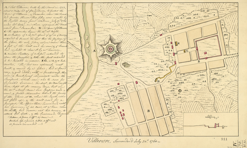 Item: Plan of Villenore, 1760 (Villianur, Pondicherry, India) 11?54'00