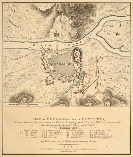 Map of the siege of Badajoz, 1812 (Badajoz, Extremadura, Spain) 38?52'40