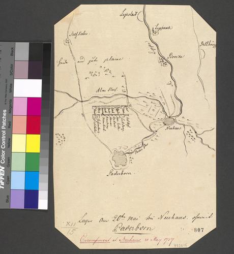 Plan of encampment at Neuhaus, 1757 (Schloss Neuhaus, Paderborn, North Rhine-Westphalia, Germany) 51?45'13