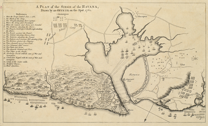 Map of the siege of Havana, 1762 (Havana, Ciudad de La Habana, Cuba) 23?07'58