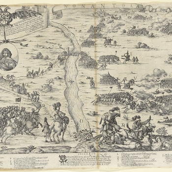 A view of Franceso I d'Este, Duke of Modena (6 September 1610-14 October 1658), attacking the papal armies of Cardinal Antonio Barberini (5 August 1607-3 August 1671) and forcing them to retreat on 20 July 1643. First War of Castro (1641-1644).   Dedicati