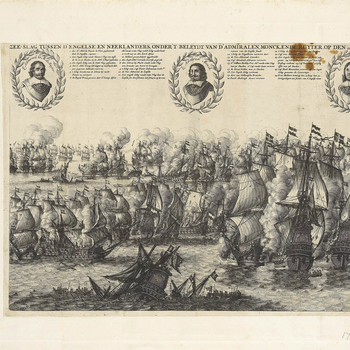 A view of the Four Days' Battle fought on 11, 12, 13 and 14 June (N.S.) 1666 between the navy of the Dutch Republic commanded by Admiral Michiel Adriaenszoon de Ruyter (1607-76) and Admiral Cornelis Maartenszoon Tromp (1629-91) and the English fleet, comm