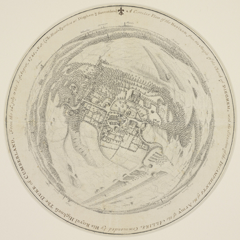A circular view of the encampments of the Allied army, under the command of the Duke of Cumberland, in the vicinity of Brussels. 14 July-2 August 1745. <em>War of the Austrian Succession (1740-48)</em>. Oriented with north to top (cardinal points). The at