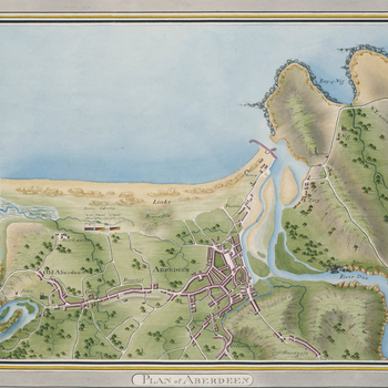 A map of a military encampment at Aberdeen, 1795. War of the French Revolution (1792-1802): War of the First Coalition (1792-8). Oriented with north-west to top.   The encamped regiments are: 2nd Battalion the 4th Fencibles, 1st Battalion the 8th Fencible