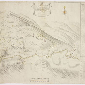 A map of the Battle of Glen Shiel, fought on 10 June 1719 between the British government forces, commanded by Major-General Joseph Wightman (d.1722), Commander-in-Chief in Scotland and the Highlanders and their Spanish allies, commanded by William Mu