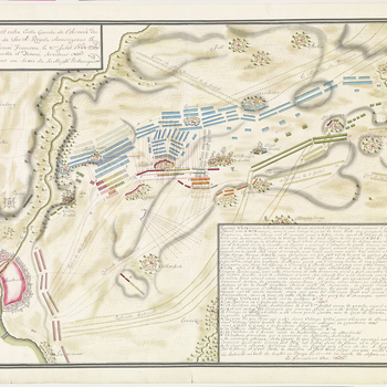 A map of the Battle of Lafelt, fought on 2 July 1747 between the French army, commanded by Marshal Maurice Saxe (1696-1750) and the Allied army (Great Britain, Hanover, Austria, Dutch Republic), commanded by William Augustus, Duke of Cumberland (1721-65),