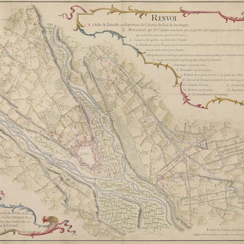 A map of the siege of Cuneo (Coni), 12-30 September 1744, fought between the King of Sardinia's forces, augmented by Austrian Croats, under the command of Charles Emmanuel III, King of Sardinia (1701-73), and the combined army of the French and Spanish un