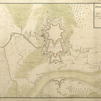 An outline plan of the fortifications of Philippsburg showing the French approach trenches begun on 27 September leading to the capitulation of Imperial-held Philippsburg on 29 October 1688. The Imperial garrison was commanded by Field marshal Maximilian