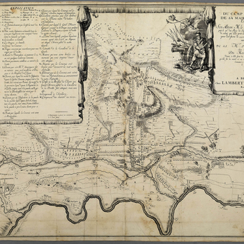 A map of the encampments and order of battle of the Allied army, commanded by Charles Henri de Lorraine, Prince de Vaudemont (1649-1723) and the encampment of the French army, led by François de Neufville, duc de Villeroi (1644-1730) at Wontergem and Aar