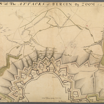 A plan of the attacks on Bergen op Zoom, 1747. War of the Austrian Succession (1740-48). Oriented with south to top.   The town of Bergen op Zoom, fortified by Menno van Coehoorn and garrisoned under the command of General Cronström, was besieged by the