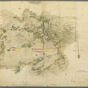 A map of encampment of the British and Hanoverian troops, under the command of the Duke of Cumberland, near Nistelrode, 1748. War of the Austrian Succession (1740-48). Oriented with south to top (cardinal points).   This map is coloured naturalistically t