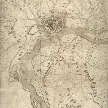A high oblique view of Valenza, defended by the Spanish, commanded by the military governor, Don Martino Galiano and General Carlos Coloma de Saa (1567-23 November 1637), and besieged from 9 September to 28 October by Charles I de Blanchefort (1578-17 Mar