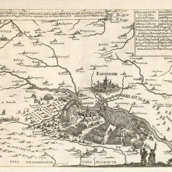 A map/high oblique view of the Battle of Choczim, fought on 11 November 1673 between the forces of the Polish-Lithuanian Commonwealth, commanded by John Sobieski (1629-96; from 1674 John III Sobieski, King of Poland and Grand Duke of Lithuania) and those